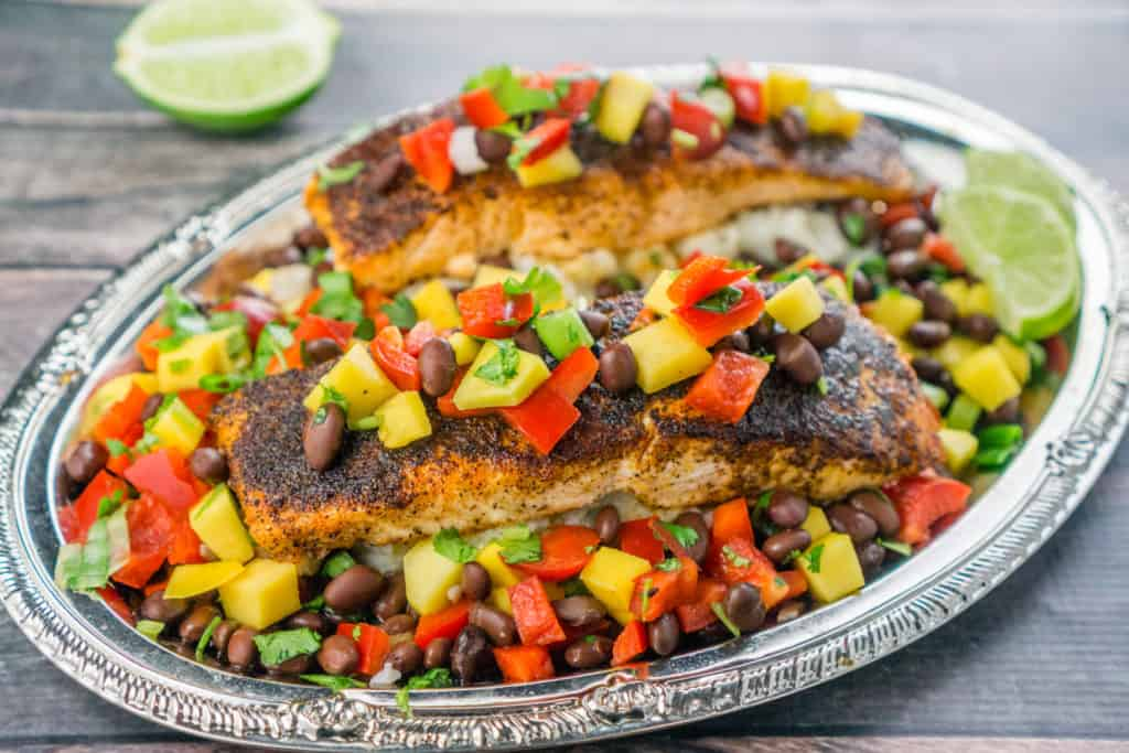 Mango Black Bean Relish over Blackened Salmon