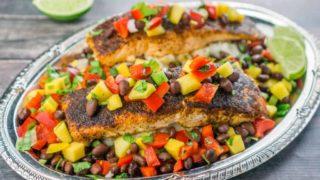 Blackened Salmon with Mango Black Bean Relish