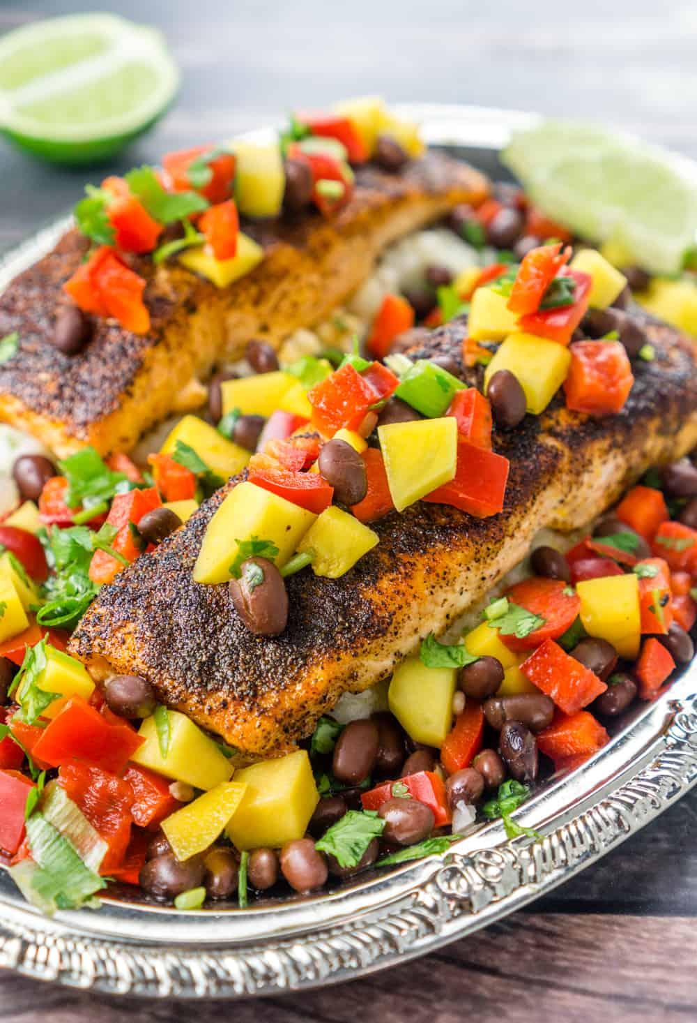 Mango Black Bean Relish over Blackened Salmon