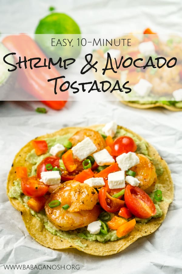 easy shrimp avocado tostadas pinterest image