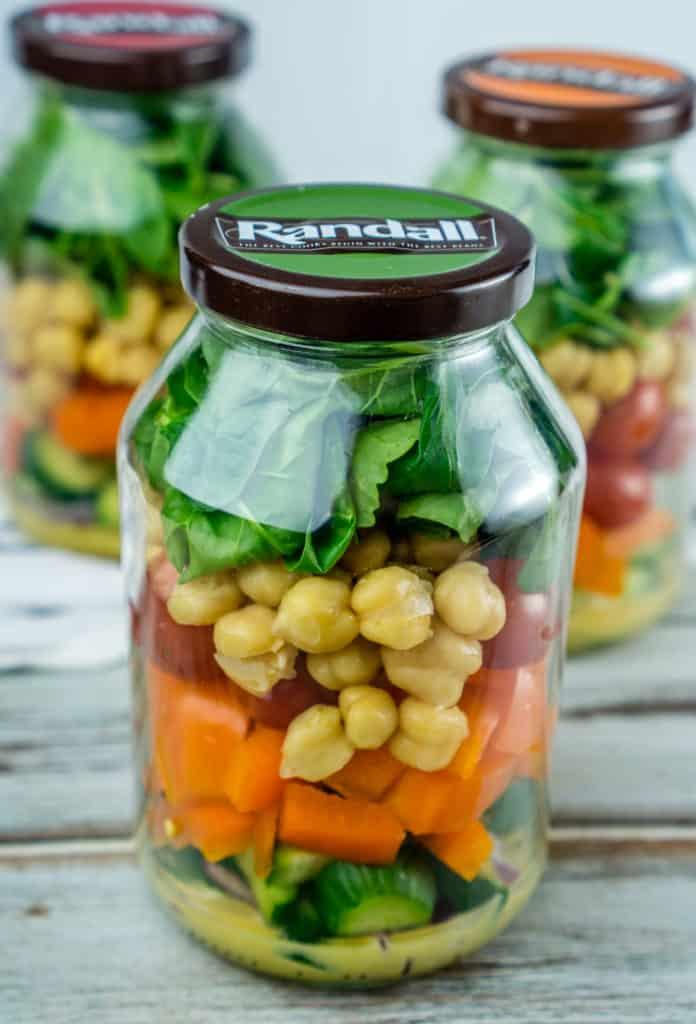 Salad in Jar with Homemade Honey Mustard Dressing