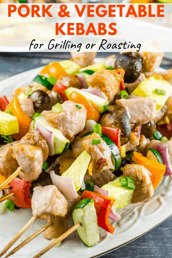 pork and vegetable kebabs pinterest graphic