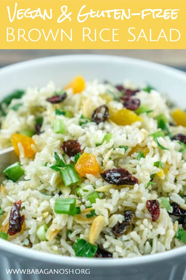 vegan brown rice salad pinterest image