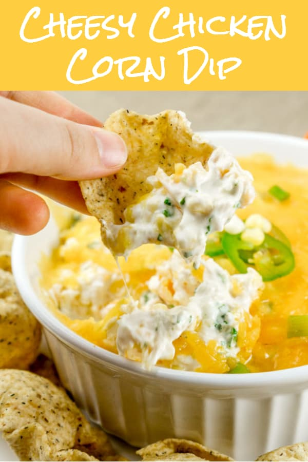 cheesy chicken corn dip pinterest image