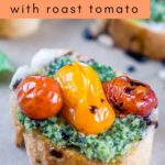 pesto crostini with roast tomato pinterest graphic