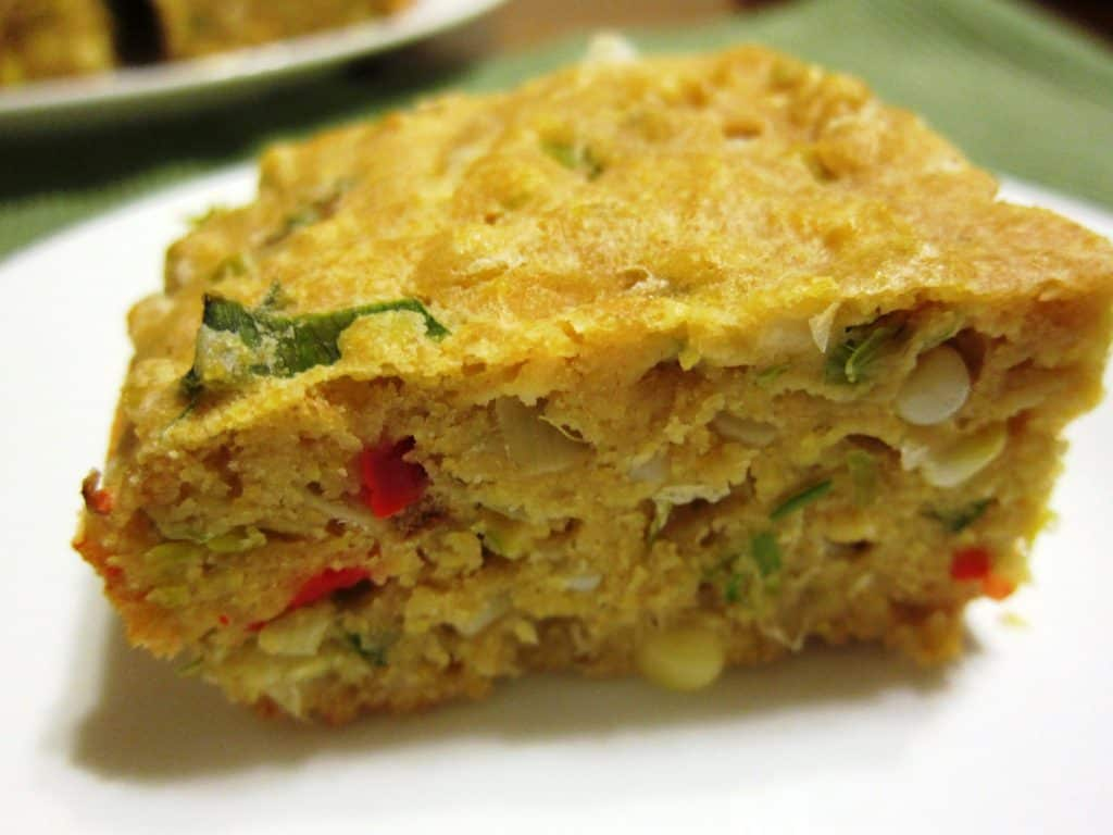 Savory Corn Bread with Leeks and Cherry Peppers - Babaganosh.org