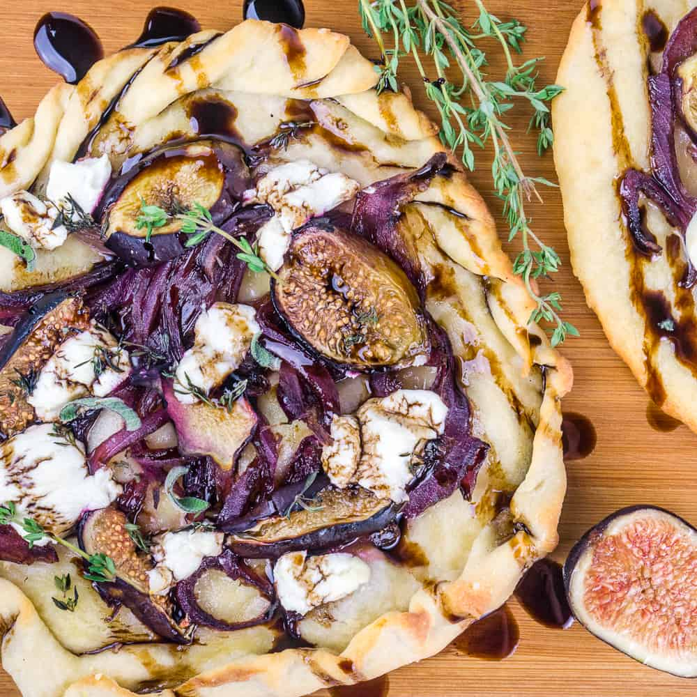 Caramelized Onion Fig and Goat Cheese Flatbread using the two-ingredient dough recipe - Babaganosh.org