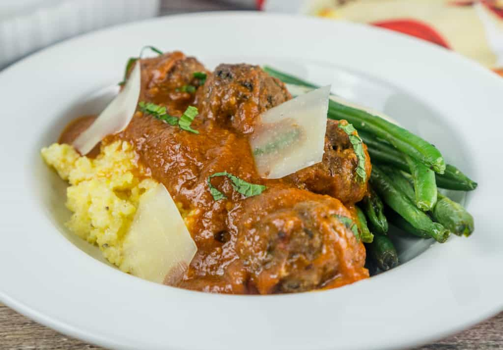 Plate of Moroccan Meatballs with Polenta and Green Beans | Babaganosh.org
