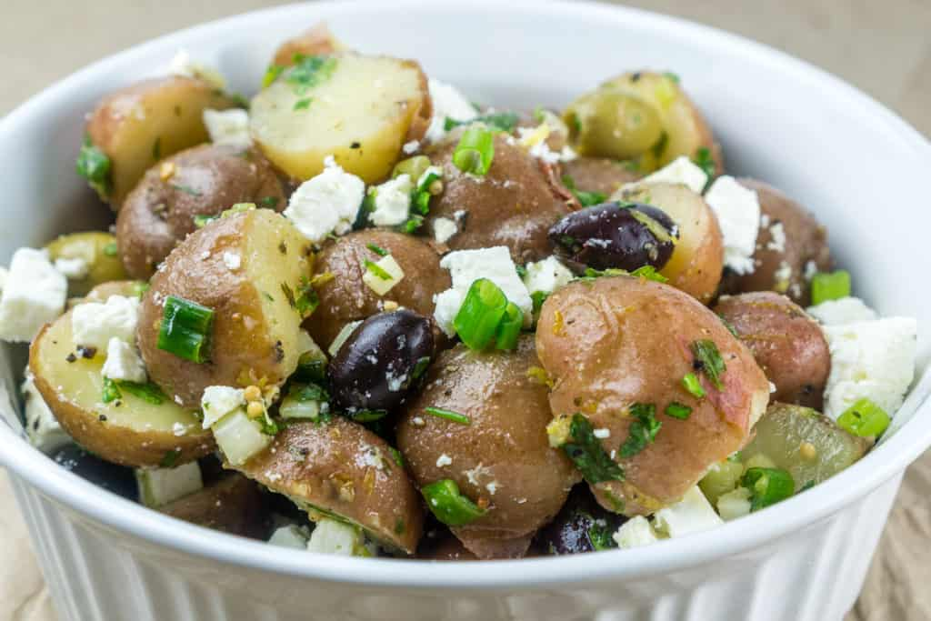 No Mayo Potato Salad with Feta and Olives. Babaganosh.org