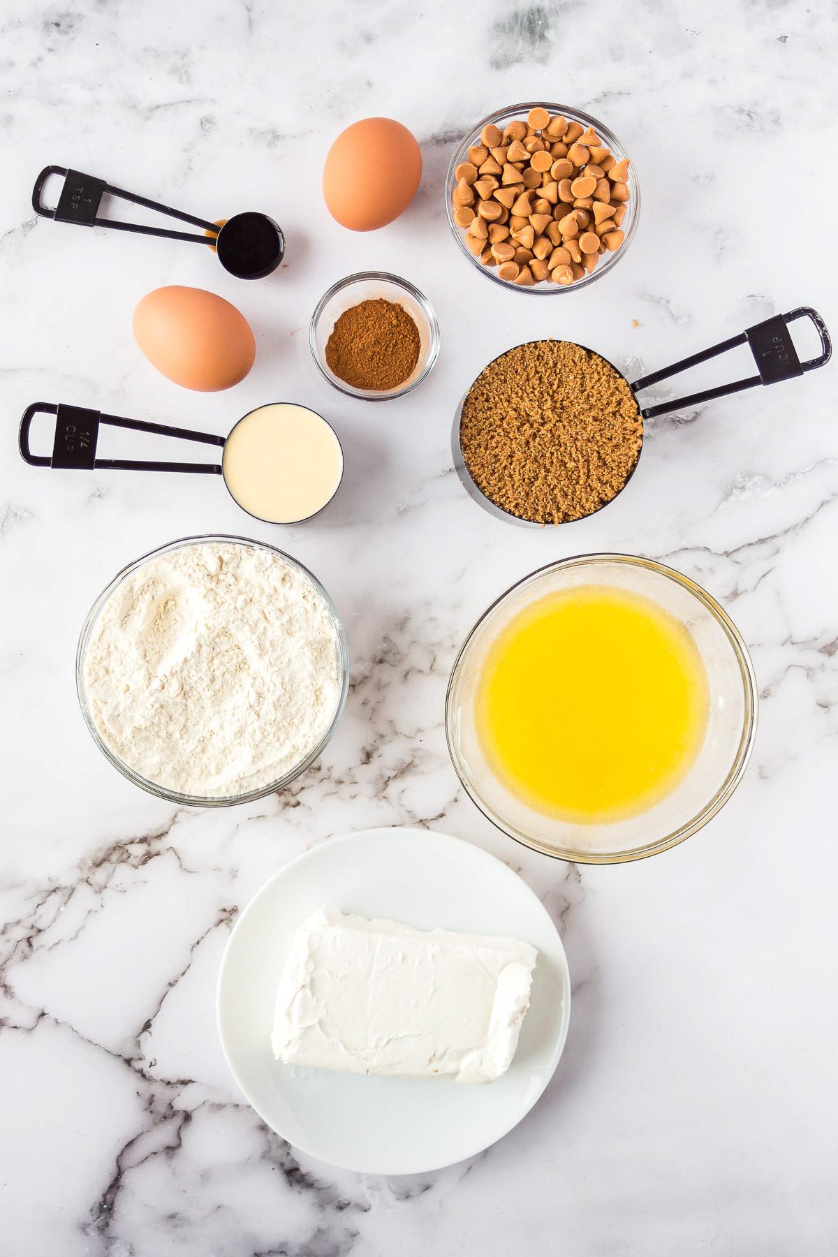 ingredients to make eggnog butterscotch blondies