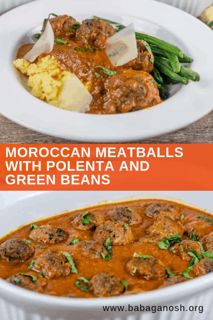 pinterest image of moroccan meatballs with polenta