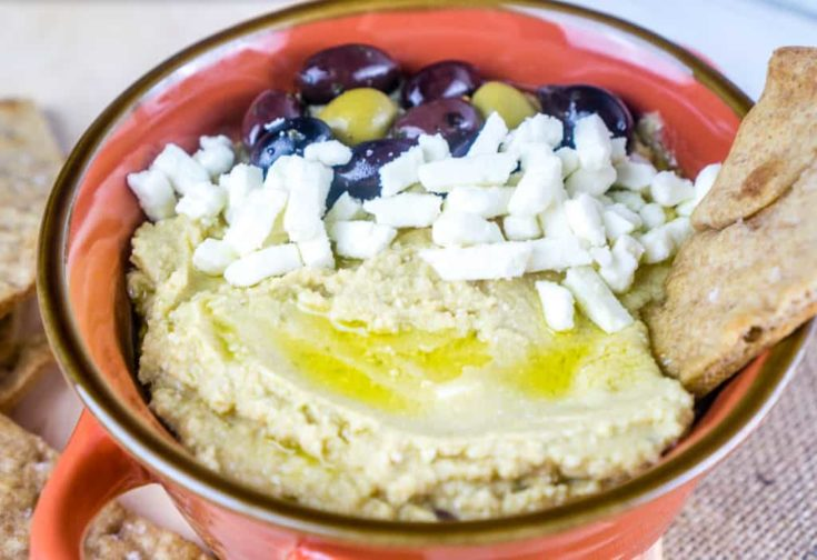 Olive & Feta Hummus with Garlic Sea Salt Pita Wedge Chips