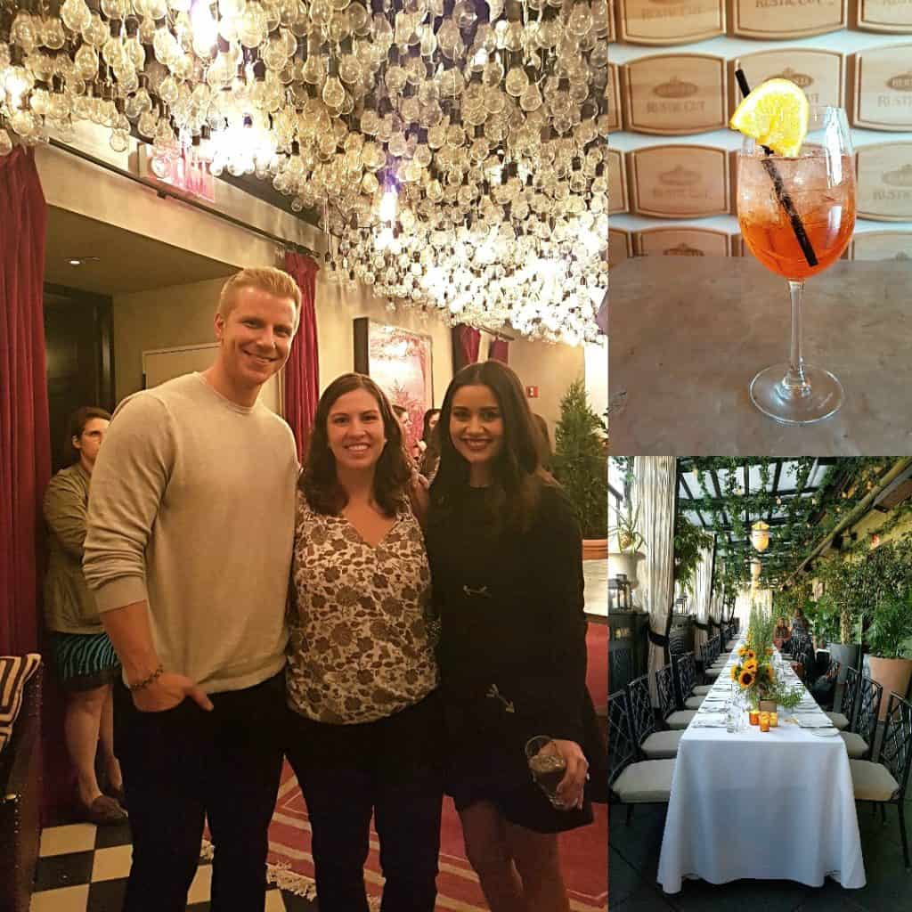 Collage of dinner party where I met Sean and Catherine from the Bachelor!
