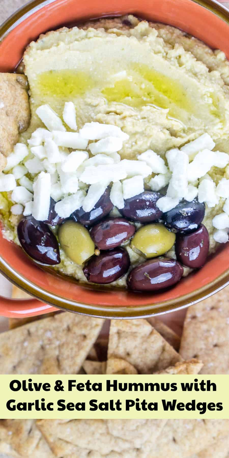 Olive & Feta Hummus with homemade Garlic Sea Salt Pita Chips - perfect for entertaining! #hummus #pita #chips #olives #fetacheese #feta #vegetarian #pitachips #snacking #entertaining #superbowlrecipes #hummusrecipes