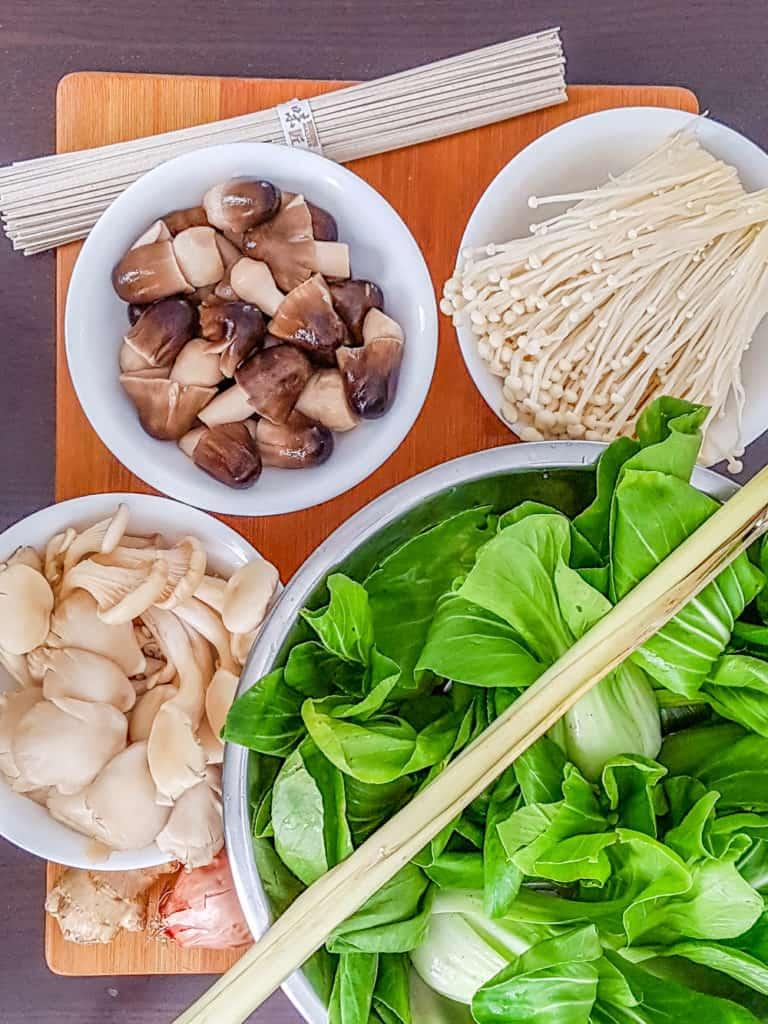 Ingredients for Lemongrass Ginger Mushroom Soup with Soba Noodles | Babaganosh.org