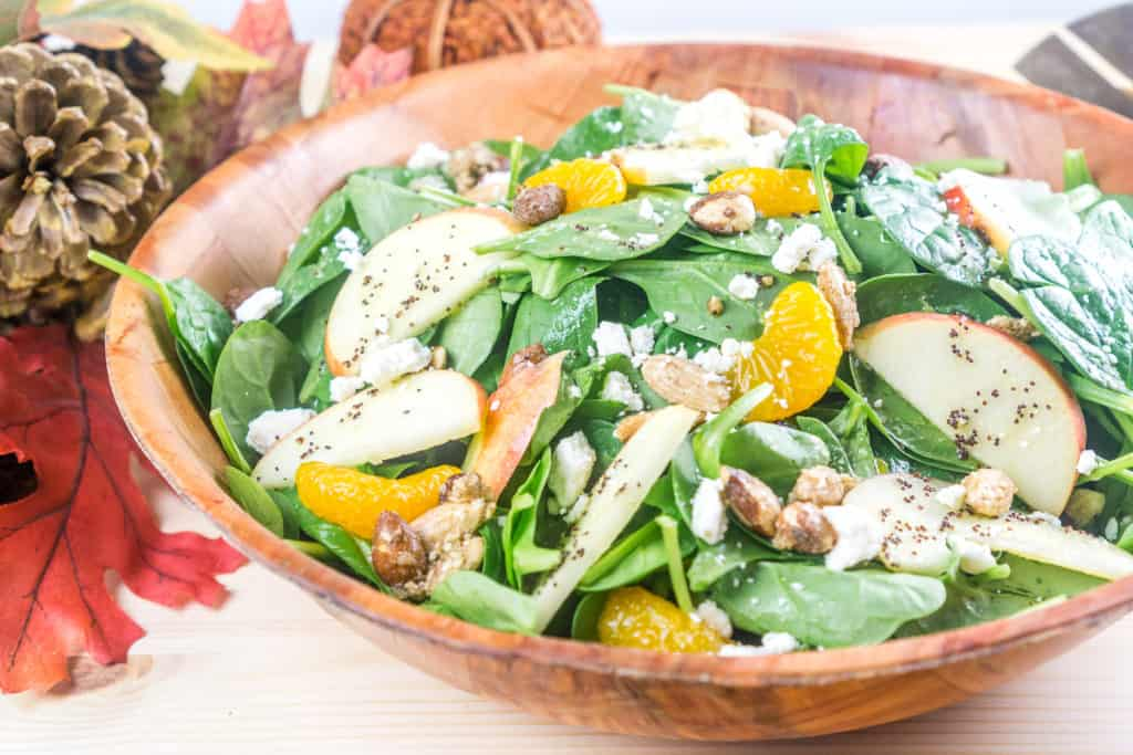 Fall Apple Mandarin Orange Spinach Salad with Mandarin-Poppy Seed Dressing