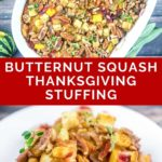 pinnable image of butternut squash thanksgiving stuffing