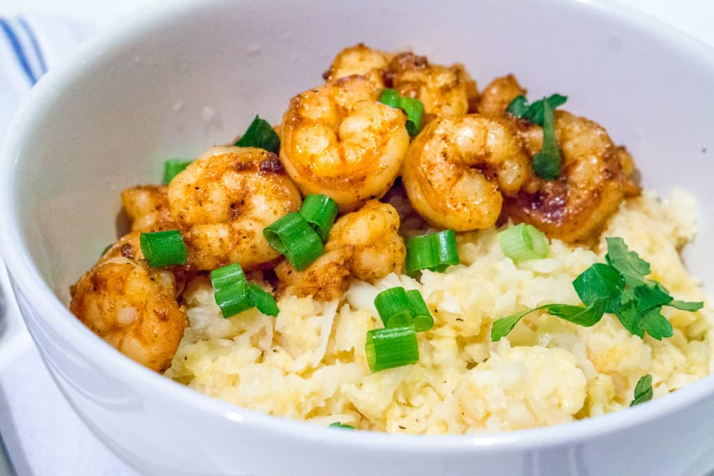 "Cajun Shrimp with Cauliflower ""Grits"" - Babaganosh.org"
