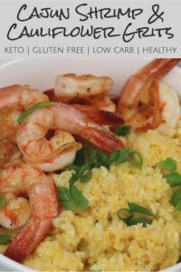 pinterest image of cajun shrimp and cauliflower grits