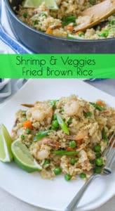 Shrimp and Veggies Fried Brown Rice Pinterest Image - www.babaganosh.org
