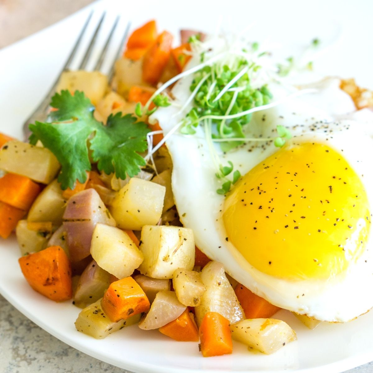 plate of vegetable hash with a fried egg on top