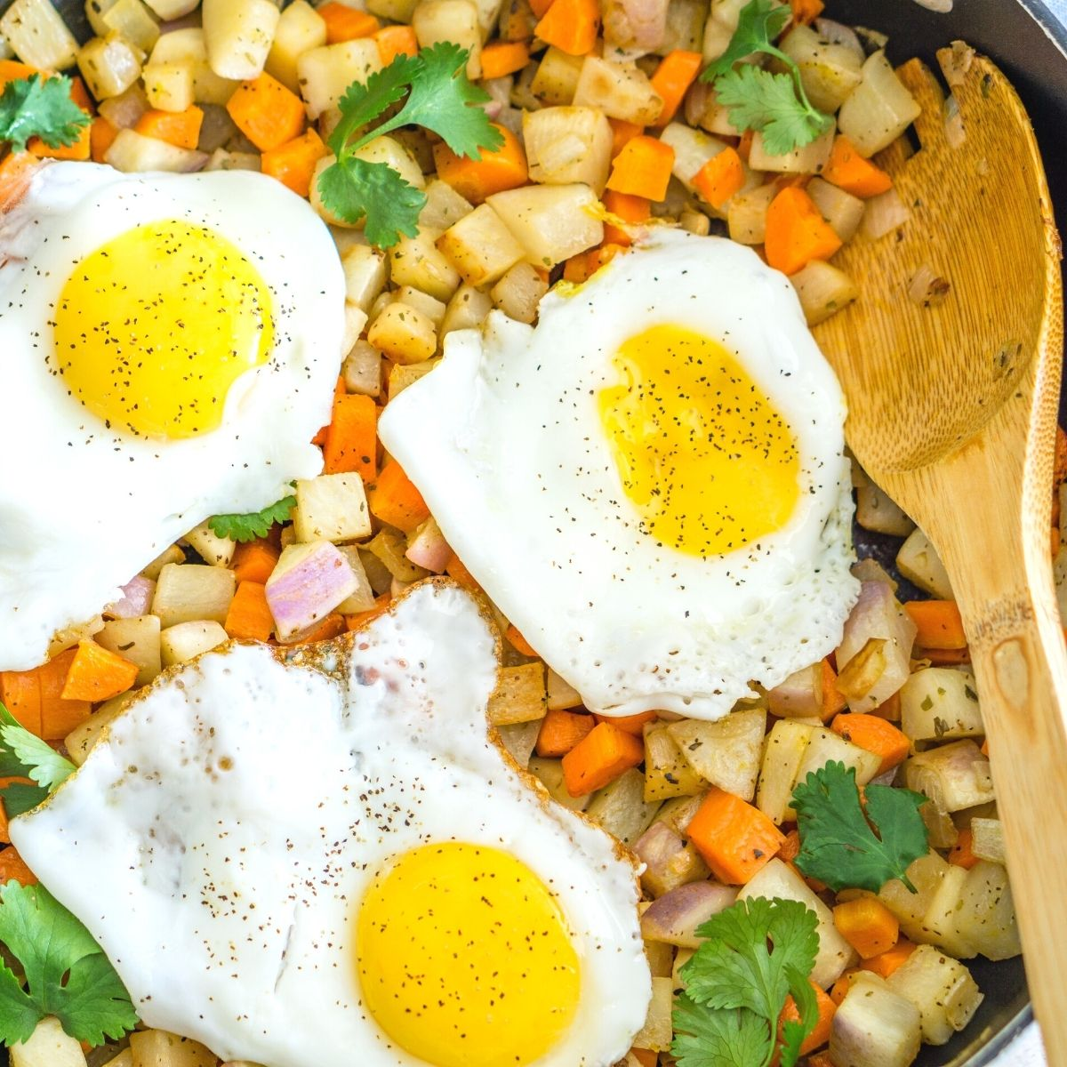 turnip vegetable hash topped with fried egg