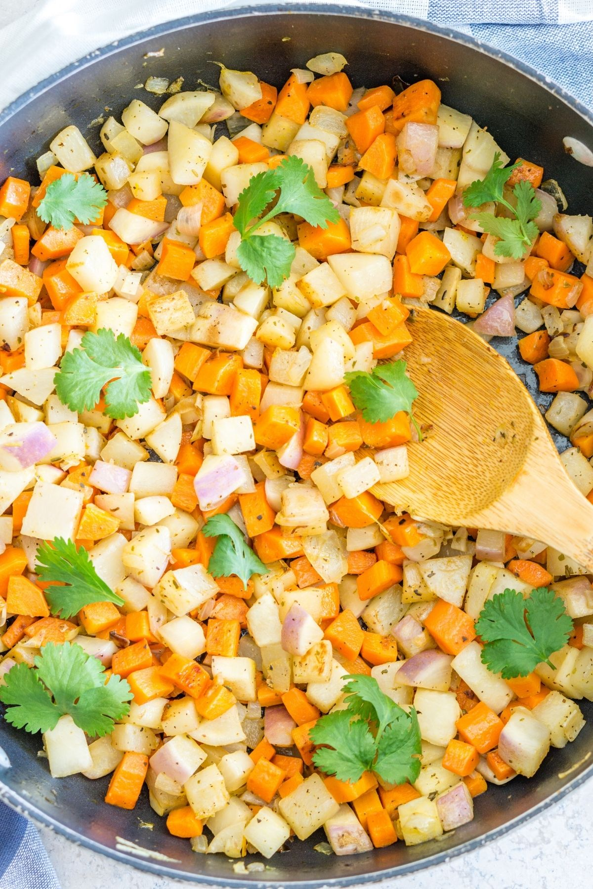 skillet of carrot turnip vegetable hash