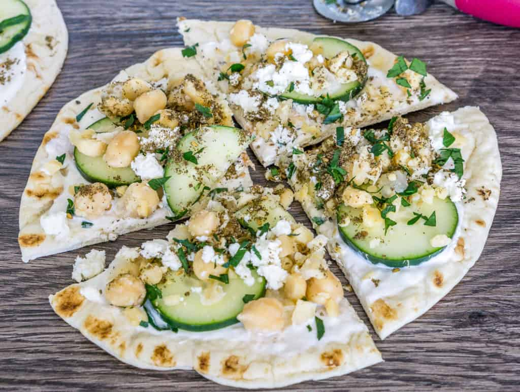 Smash Chickpea Pita with Cucumber, Feta, Greek Yogurt, and Za'atar