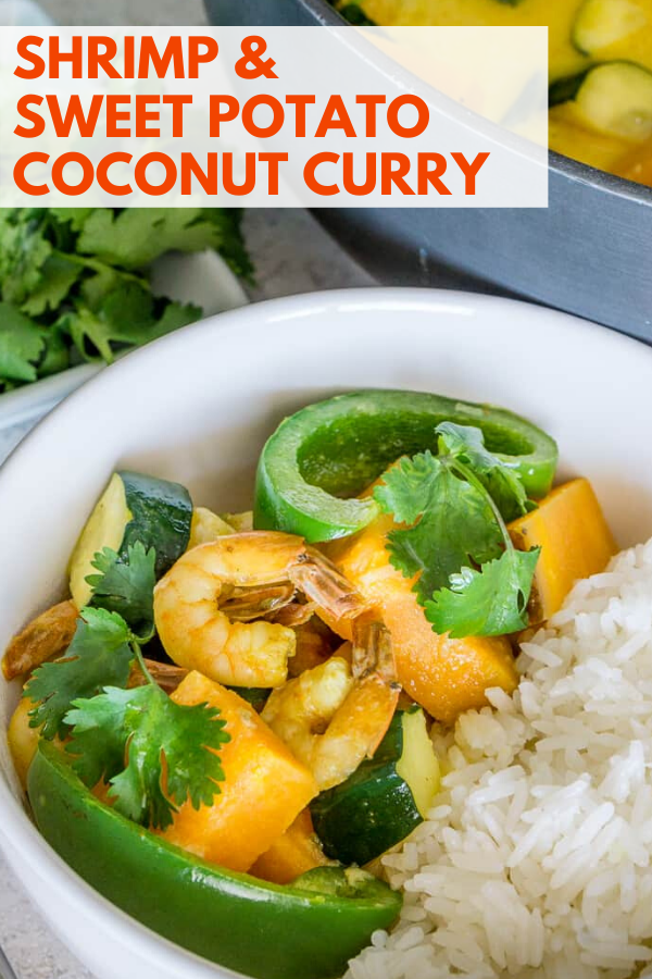 shrimp and sweet potato coconut curry pinterest graphic