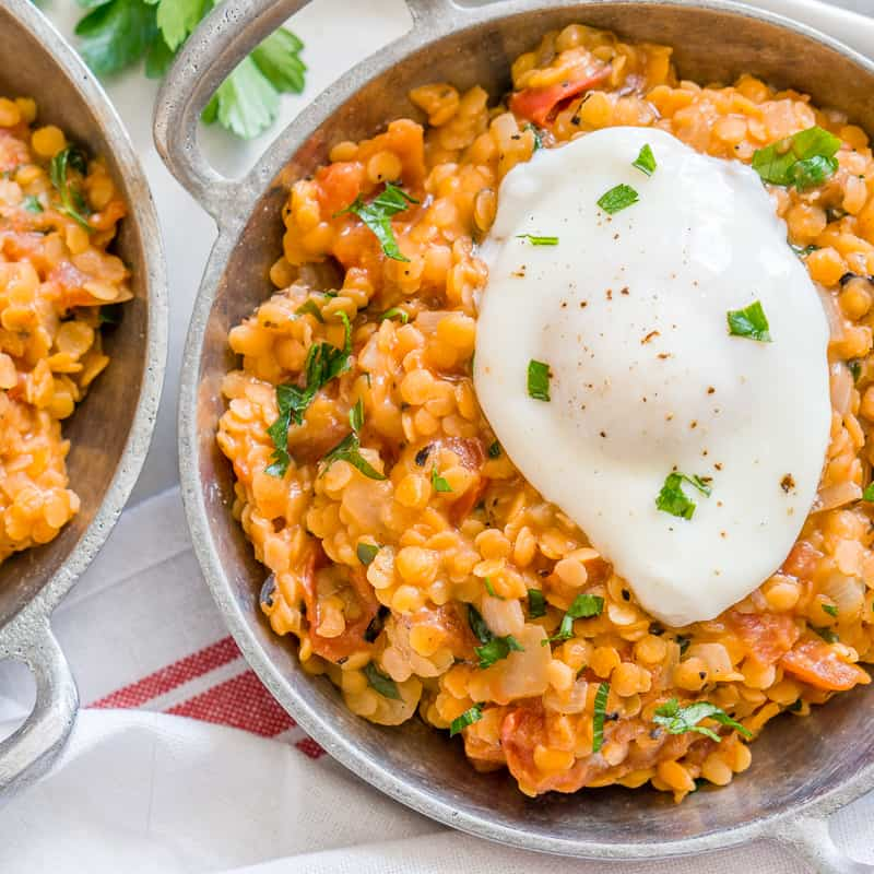 Red Lentils with Poached Eggs