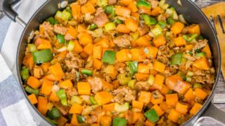 Sweet Potato Sausage Skillet with Peppers