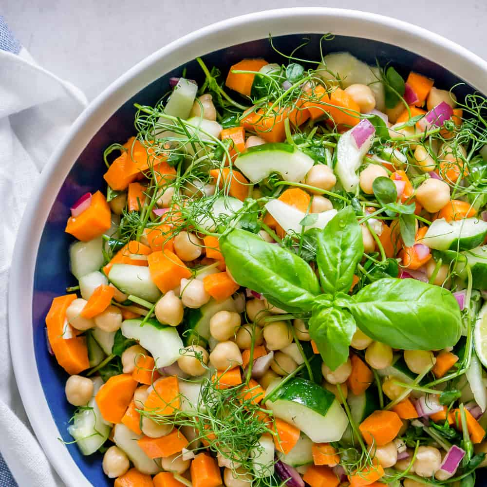 Chickpea and Pea Shoot Salad with Basil Lime Dressing