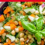 Pinnable image of chickpea and pea shoot salad.