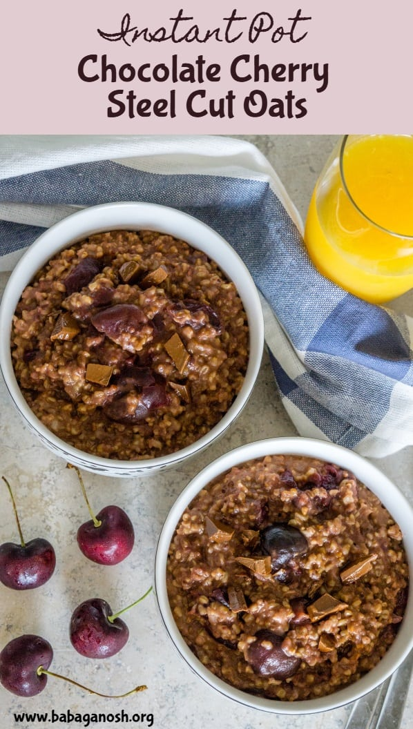 The most delicious oatmeal you'll ever have! These Cherry Chocolate Steel Cut Oats are cooked in the Instant Pot in just 15 minutes, so you can enjoy a healthy tasty bowl on a weekday morning. #glutenfree #steelcutoats #instantpot #instantpotrecipes #chocolateoatmeal #chocolatecherry #oats #oatmeal #breakfast #breakfastrecipes #healthybreakfast #healthyrecipes