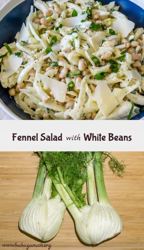 fennel salad with white beans pinterest image