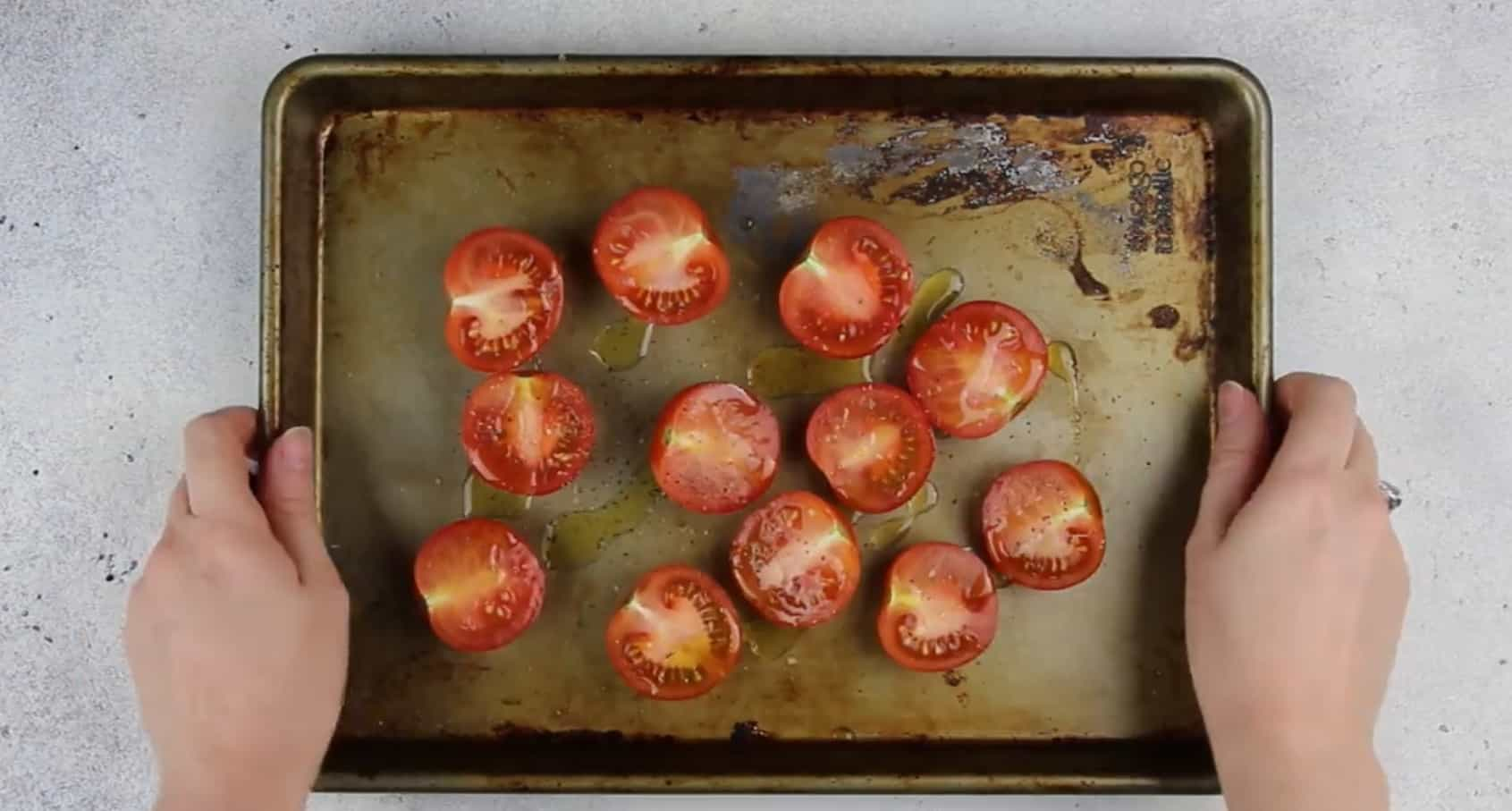 image of tomatoes on a roasting pan