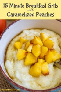 Breakfast Grits with Caramelized Peaches pinterest image