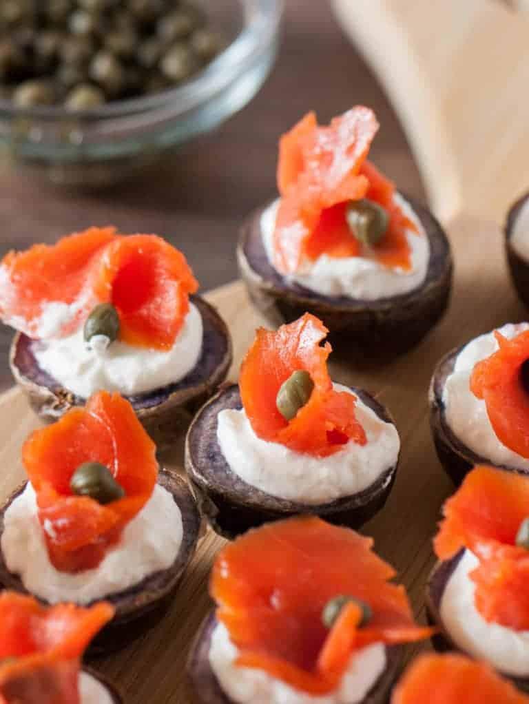 smoked salmon potato canapes - lox recipes roundup