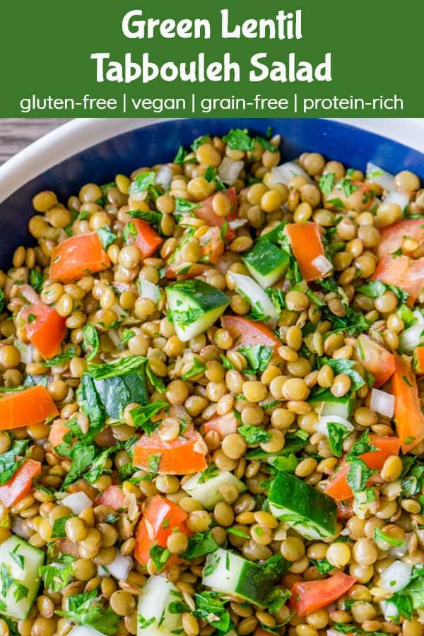 green lentil tabbouleh salad - pinterest image