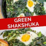 Pinnable image of a kale shakshuka.