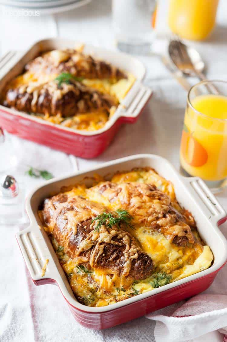 Smoked Salmon Croissant Strata - lox recipes roundup
