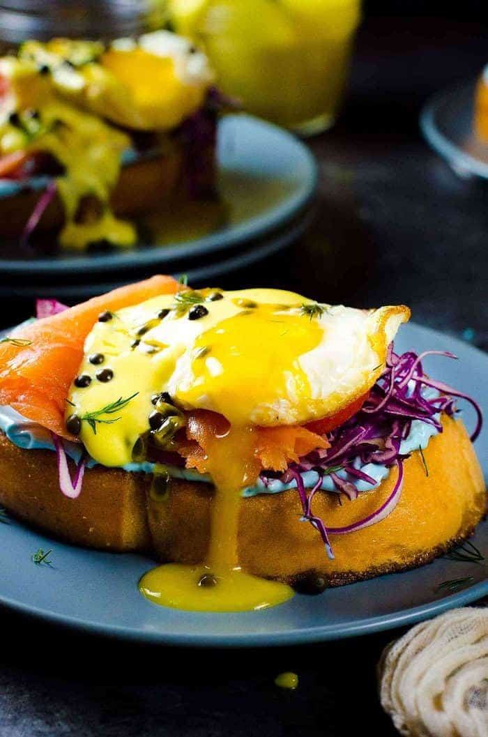rainbow smoked salmon toasts with passionfruit hollandaise - lox recipes roundup