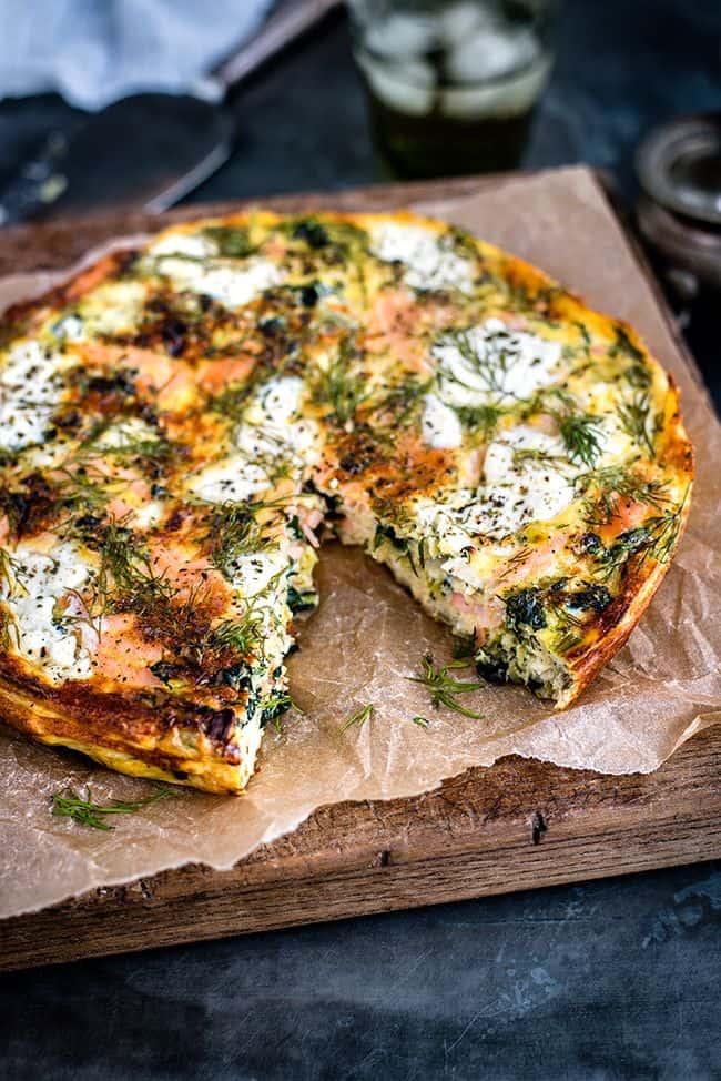 cottage cheese, kale, smoked salmon frittata - lox recipes roundup