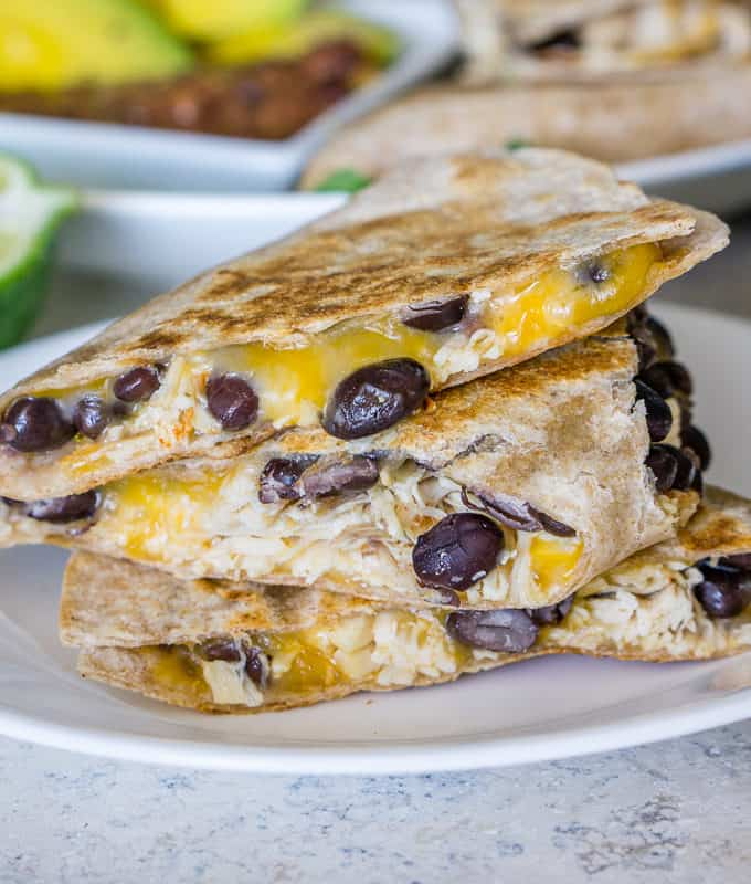 leftover turkey quesadillas with black beans