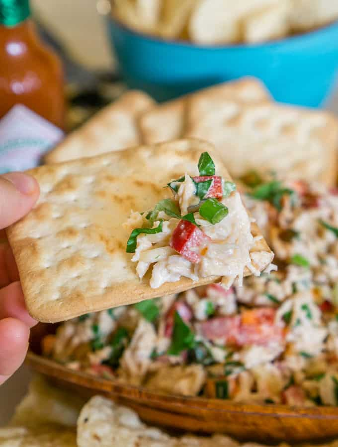 crunchy spicy chicken salad on a cracker