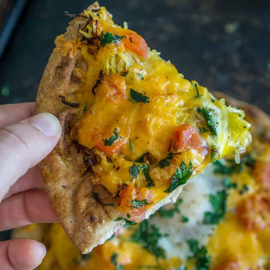 slice of veggie loaded breakfast flatbread
