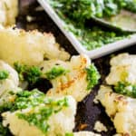 close-up of roasted cauliflower with parsley pesto