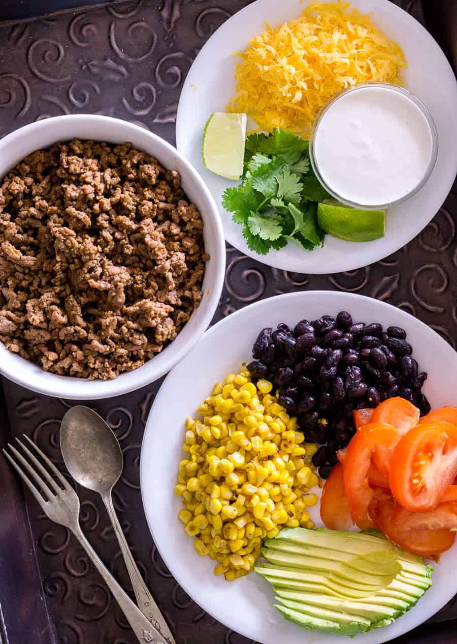 image of ingredients for a taco bowl