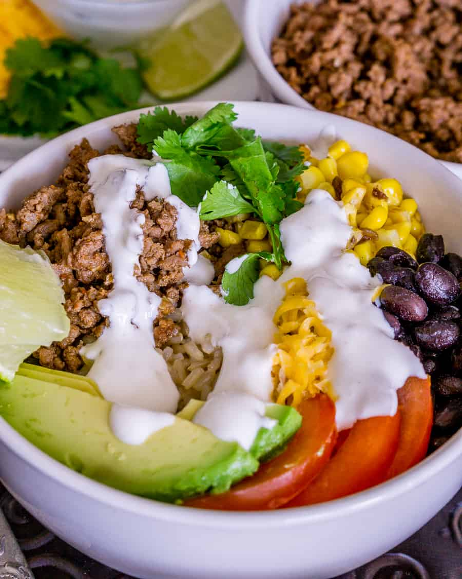 image of taco bowls with brown rice