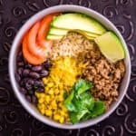 image of brown rice taco bowl